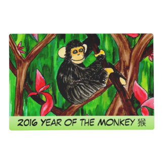 Year of the Monkey laminated placemat