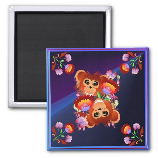 Year Of The Monkey Square Magnet