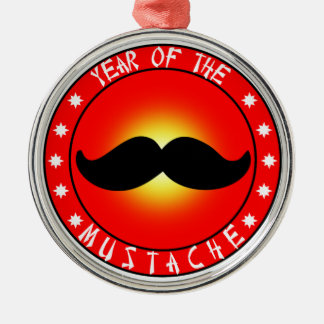 Year of the Mustache Silver-Colored Round Decoration