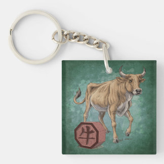 Year of the Ox Chinese Zodiac Art Double-Sided Square Acrylic Key Ring