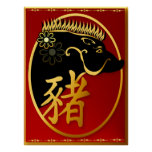 Year Of The Pig-Black Boar  Poster