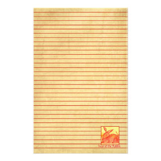 Year of the Rabbit Chinese New Year Red Lined Stationery Paper