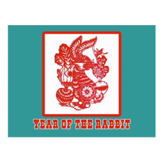 Year of the Rabbit Chinese Paper Cut Art Postcard