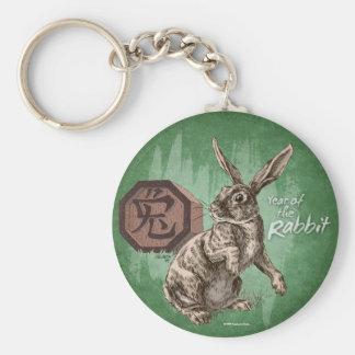 Year of the Rabbit Chinese Zodiac Art Basic Round Button Key Ring