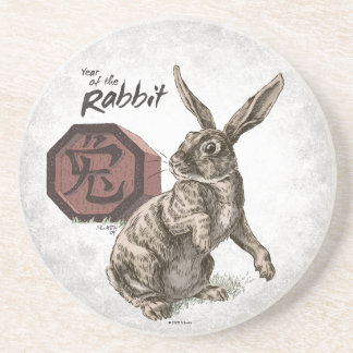 Year of the Rabbit Chinese Zodiac Art Drink Coasters