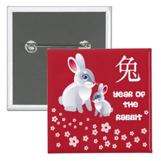 Year of the Rabbit . Two Rabbits 15 Cm Square Badge