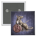 Year of the Rat Chinese Zodiac Art 15 Cm Square Badge