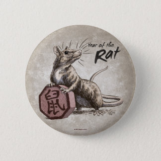 Year of the Rat Chinese Zodiac Art 6 Cm Round Badge