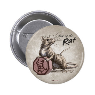Year of the Rat Chinese Zodiac Art 2 Inch Round Button