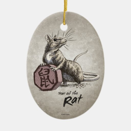 Year of the Rat Oval Ornament