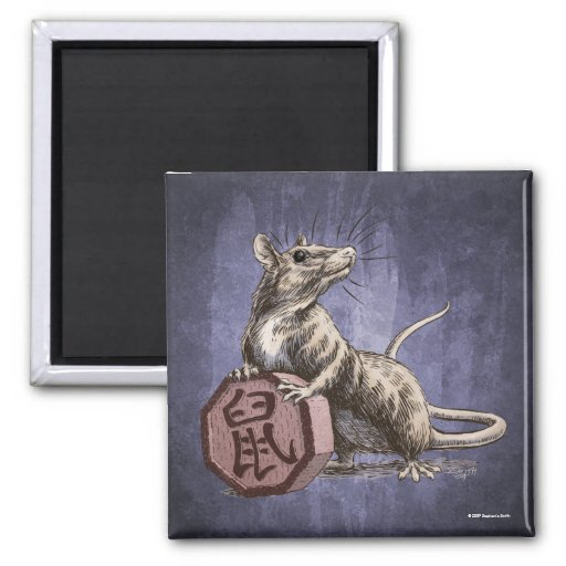 Year of the Rat Square Magnet - purple background