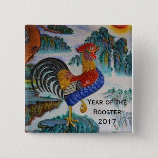 Year of the Rooster 2017 15 Cm Square Badge