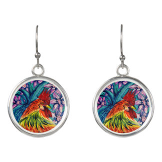 Year of the Rooster Watercolour Drop Earrings