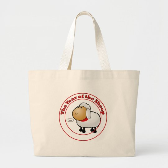 Year of the Sheep Cartoon Large Tote Bag