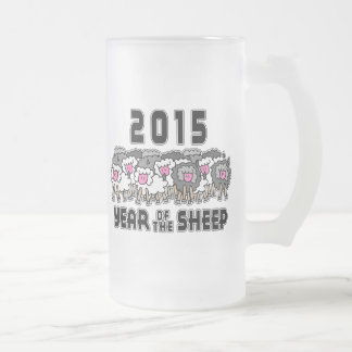 Year of The Sheep Ram Goat 2015 Frosted Glass Mug