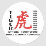 Year of The Tiger Chinese Astrology Gift Round Sticker