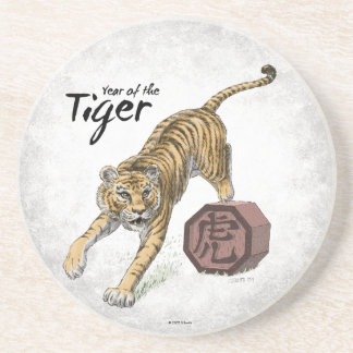 Year of the Tiger Chinese Zodiac Art Sandstone Coaster