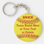 YEAR, Team Name, Text BULK Softball Gifts Basic Round Button Key Ring