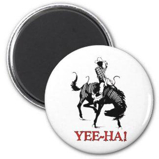 Yee-Ha! Rodeo cowboy on bucking horse stallion Fridge Magnets