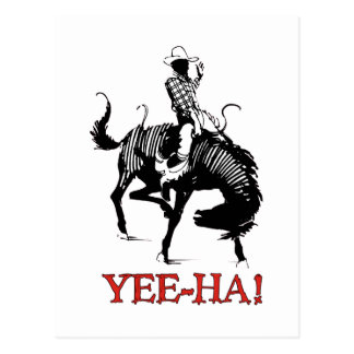 Yee-Ha! Rodeo cowboy on bucking horse stallion Postcards