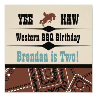 "Yee Haw Brown and Blue Western Birthday Invite 5.25"" Square Invitation Card"