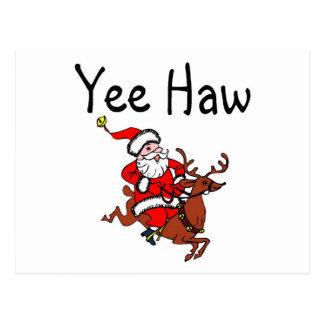 Yee Haw Christmas Cowboy Santa Claus Postcard