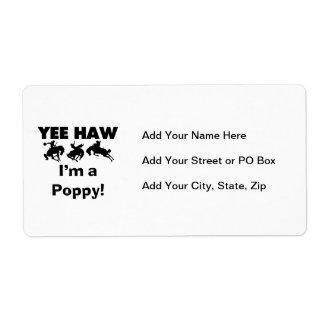 Yee Haw I'm a Poppy T-shirts and Gifts Shipping Label