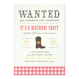 Yeehaw! Cowgirl Birthday Party Invitation