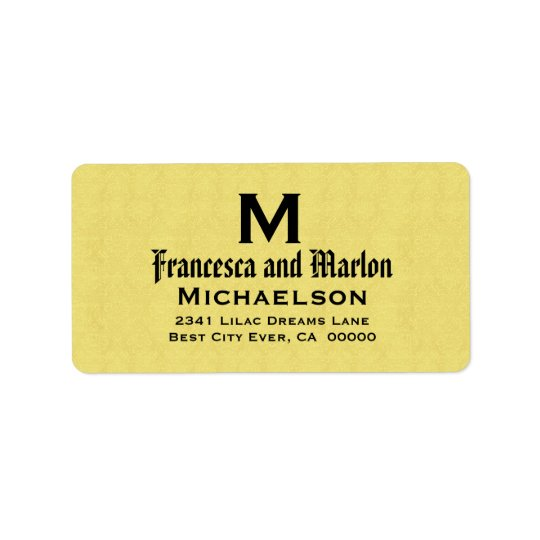 Yelllow and Black Wedding Monogram Personalised Address Label