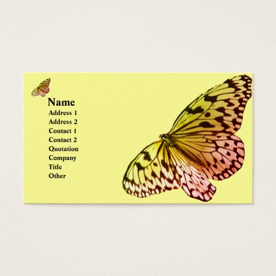Yelllow Pink Butterfly Business Card