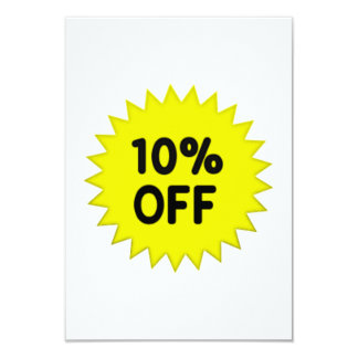 Yellow 10 Percent Off 9 Cm X 13 Cm Invitation Card