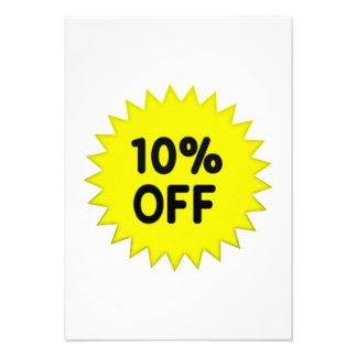 Yellow 10 Percent Off Personalized Invitation
