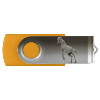 YELLOW 120 GB USB FLASH DRIVE WITH HORSE.