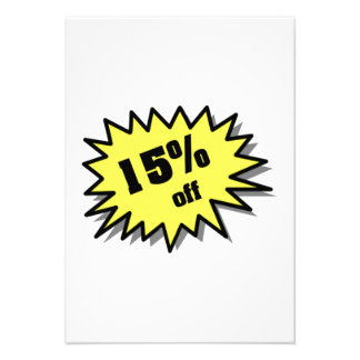 Yellow 15 Percent Off Personalized Invitations