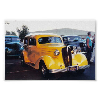 Yellow 1940s Car / Coupe Poster
