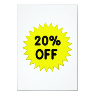 Yellow 20 Percent Off 9 Cm X 13 Cm Invitation Card