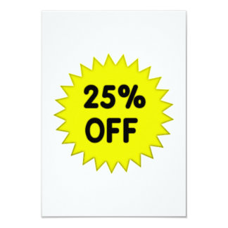Yellow 25 Percent Off 9 Cm X 13 Cm Invitation Card