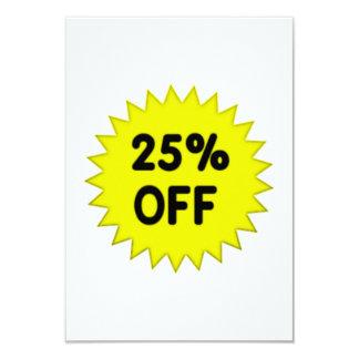 Yellow 25 Percent Off 9 Cm X 13 Cm Invitation Card