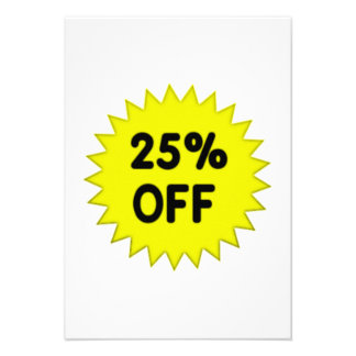Yellow 25 Percent Off Personalized Announcement