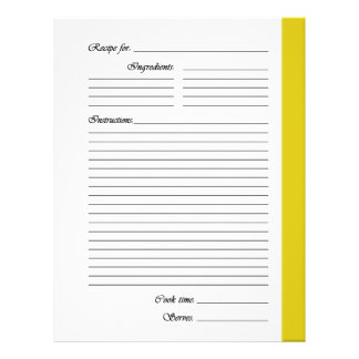 Yellow 2-sided Recipe Pages