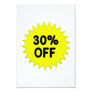 Yellow 30 Percent Off 9 Cm X 13 Cm Invitation Card