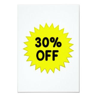Yellow 30 Percent Off 9 Cm X 13 Cm Invitation Card