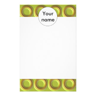 Yellow 3d circles pattern stationery design