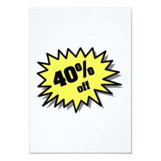 Yellow 40 Percent Off 9 Cm X 13 Cm Invitation Card