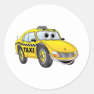Yellow 4 Door Taxi Cab Cartoon Round Sticker