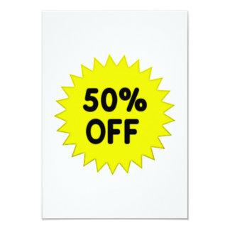 Yellow 50 Percent Off 9 Cm X 13 Cm Invitation Card