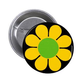 Yellow 60 s Flower Power Pin
