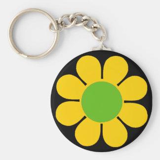 Yellow 60's Flower Power Basic Round Button Key Ring
