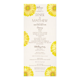 Yellow 70's Gerbera Wedding Program Rack Card