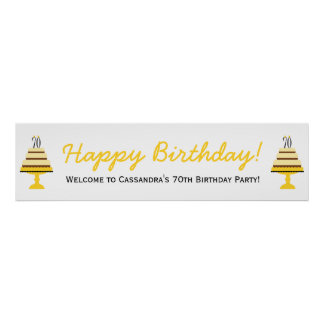 Yellow 70th Birthday Cake Party Banner Poster